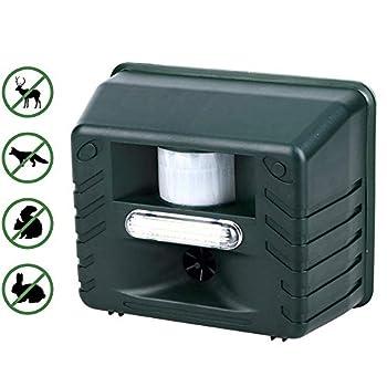 YCGJ Ultrasonic Pest Repeller - Répulsif Animal à ultrasons avec répulsif Flash avec télécommande 4 clés pour Cerfs, rongeurs, Chats, Chiens, Renards, Souris, Oiseaux, moufettes, etc.