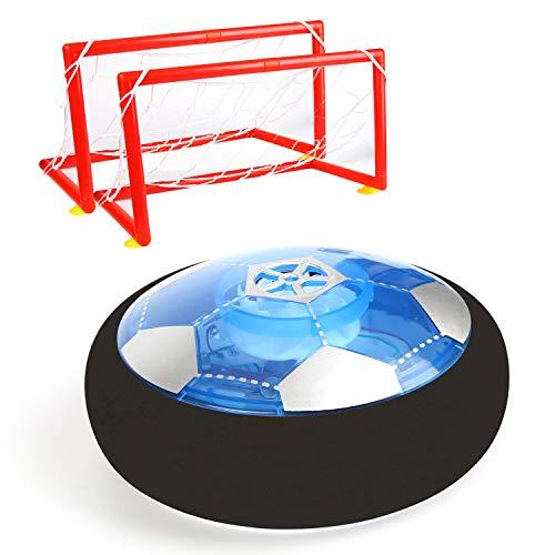 Vegena Air Power Fußball, Hover Power Ball Indoor Fußball mit Fußballtor LED Beleuchtung, Soccer Ball Fussball Spielzeug Geschenke für 3 4 Jährige Jungen Kinder Mädchen Haustier Außen Innen