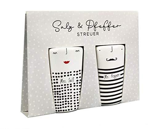 Grafik-Werkstatt 63965 Salz-und Pfefferstreuer Set mit Echtgold | Porzellan | Mr. & Mrs