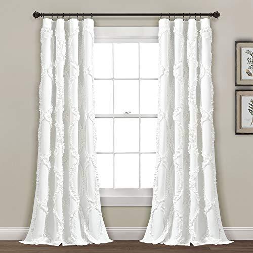 "Lush Decor Avon Window Curtain Panel for Living Room, Dining Room, Bedroom (Single Curtain), 84"" x 54"", White"