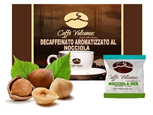 Caffè Vulcanus - 50 cialde ESE44 - Caffè decaffeinato aromatizzato alla nocciola