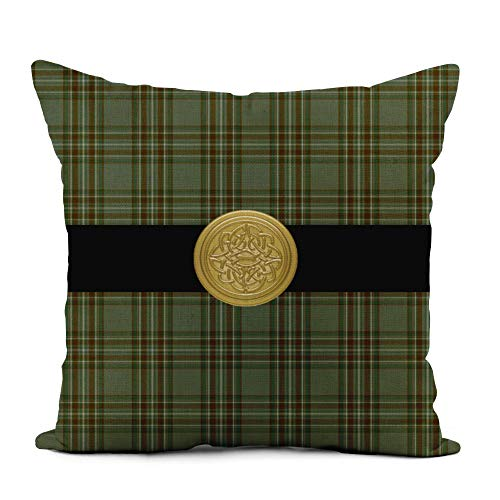 Topyee Throw Pillow Cover 18x18 Inch Irish Kelly Family Tartan Plaid Celtic Knot Surname Kelley Home Decor Pillowcases Square Pillow Cases Cushion Covers for Sofa Couch Bed