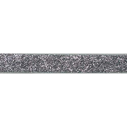 YYCRAFT 5 Yards Glitter 3/8' Elastic Ribbon for Hair Ties Headbands (Silver)