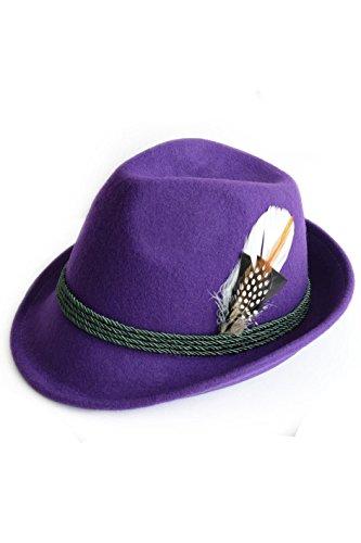 Edelnice Trachtenmode Edelnice Trachtenmode Trachtenhut aus 100% Wolle mit echter Feder, Farbe lila Gr. 59