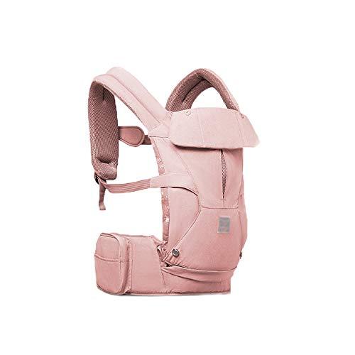 XBYEBD Porte-bébé Respirant Ergonomique 3-en-1 , Bonnet Coupe-vent + Sac De Rangement + Serviette À Salive - Universel Quatre Saisons (0 À 36 Mois, 20 Kg) Vert, Rose (Couleur : Pink)