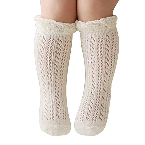 Baby Girls Knee High Socks Hollow Out Anti-skid Knitting Stockings Suitable for 0-2 Years Infants Toddlers