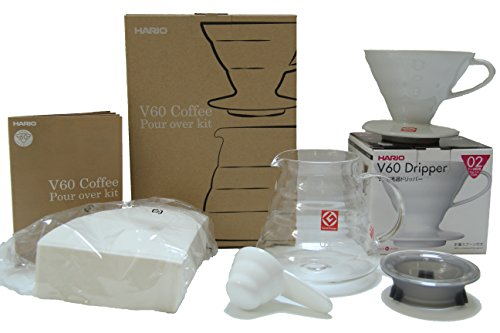 Hario V60 Coffee Pour Over Kit Bundle Set - Comes with Ceramic Dripper, Range Server Glass Pot, Measuring Spoon, and 100 Count Package of Hario 02W Coffee Filters