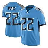NAFE American Football Sportswear, Titans #22 Henry Rugby Jersey, T-shirt pour homme, maillot de jeu, polyester, séchage rapide, respirant, confortable (S-XXXL) Rtro S bleu clair