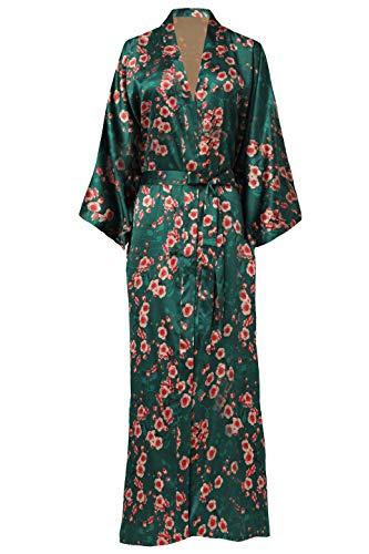 ArtiDeco Damen Morgenmantel Maxi Lang Seide Satin Kimono Kleid Blüten Muster Kimono Bademantel Damen Lange Robe Blumen Schlafmantel Girl Pajama Party 135 cm Lang (Pfirsichblüte)