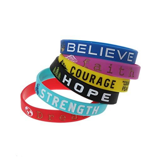 BUIDI 6 Piezas de Pulseras de Citas Inspiradoras Dream Courage Strength Pulseras de Silicona Pendientes, Collares, Anillos, llaveros, broches, Regalos