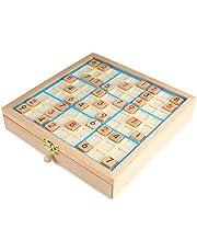 Houten Sudoku-Bord Spel met Lade, Sudoku Nummer Puzzel Speelgoed, Wiskunde Denkspelletje Desktop Speelgoed voor Kinderen Volwassenen - Blauw