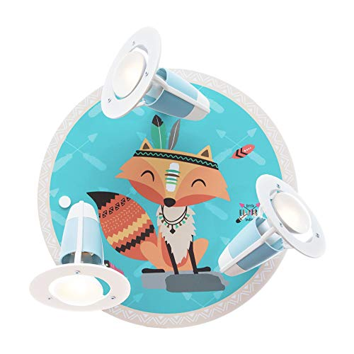 Elobra Little Indians - Lámpara de techo o pared para habitación infantil, diseño de zorro, indio de madera auténtica con 3 focos, fabricada en Alemania
