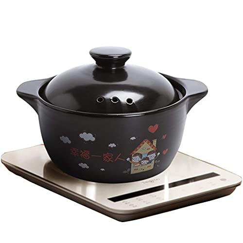 TUHFG Olla Barro refractario Cerámica Cazuela Sopa Pot Spodumene Cacerola Utensilios Utensilios Abrir Llama Inducción Cocina Cocina(Tamaño:3L) (Size : 4l)