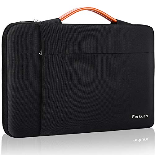 Ferkurn 14-15.6 Inch Laptop Sleeve Case Protective Bag with Handle Compatible with MacBook Pro 16'/14' 15' 15.6' XPS HP Asus Acer Chormebook Notebook Inspiron 15.6, Waterproof cover with Pocket,Black