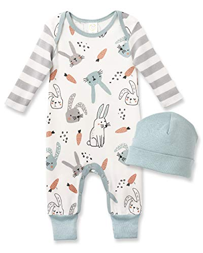 Tesa Babe Easter Outfits for Baby Boy and Baby Girl Gift One-Piece Cotton Romper Jumpsuit Infant to Toddler Bunny Print (0-3 Months)