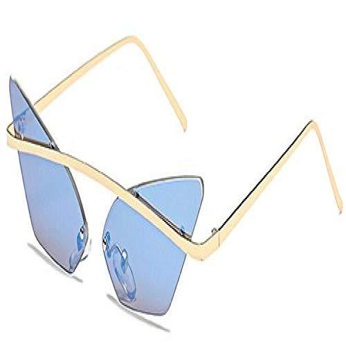 Gafas De Sol Polarizadas Nuevas Gafas De Sol De Ojo De Gato A La Moda, Gafas De Sol De Medio Marco De Diseñador De Marca Vintage, Gafas De Espejo Sin Montura para Hombre, Uv40