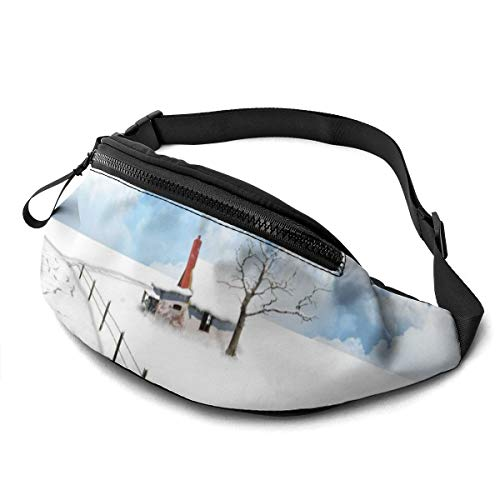 Tydo Waist Pack Bag with Headphone, Snow Scenery Fanny Pack Adjustable Straps Waist Bag for Men Women Outdoors Running Hiking