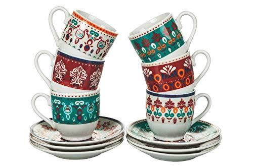 Villa d'Este Home Tivoli Shiraz - Juego de 6 tazas de café con platillo de porcelana