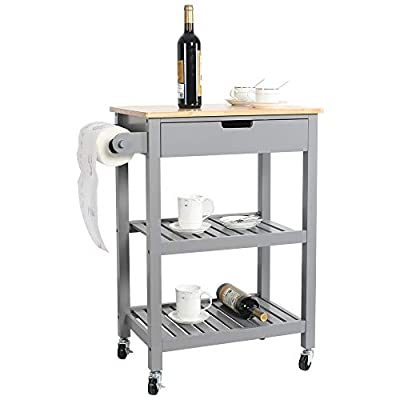 """eclife Kitchen Islands Cart Rolling Kitchen Cart Drawer Storage W/Wheels, 33""""L x 22.8""""L x 15.7""""W, for Dining Rooms Kitchens & Living Rooms by eclife"""