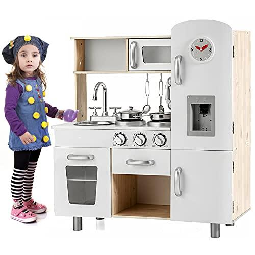 HONEY JOY Play Kitchen for Toddlers, Wooden Pretend Kitchen Toy Set, Cookware Accessories, Telephone, Microwave, Clock, Water Dispenser w/Light&Sound, Vintage Kids Kitchen Playset for Boys Girls