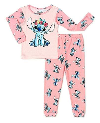 Toddler Girls Lilo & Stitch Long Sleeve Cotton Pajamas (4T) Pink