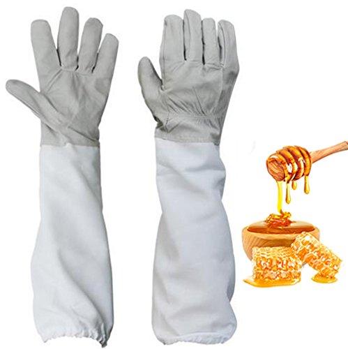 Yosoo 1 Paar Soft Leder Dauerhaft Schützende Imkerei Handschuhe Ziegenfell Bienenzucht Handschuhe mit Belüfteten Tuch, Weiß