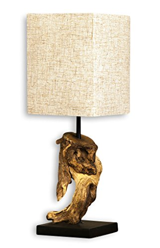 *levandeo Lampe Tischlampe/Tischleuchte aus recyceltem Holz – Design Holzlampe Treibholz 15x15cm 45cm hoch – Jede Lampe Ein Unikat naturbelassenes Massivholz*