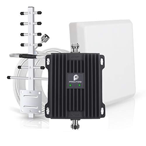 Amplificador de Señal Banda Dual gsm 900MHz 3G WCDMA 2100MHz con Panel Antena Interior y Yagi Antena Exterior con Cable de 10m para Uso de Edificios, Casa,Oficina y Ranchos