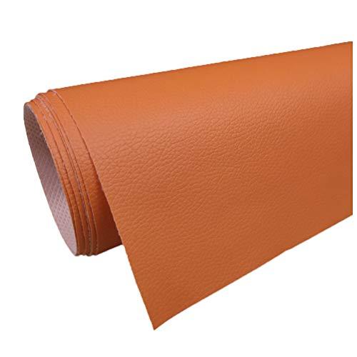 Tela de Cuero Sintético de Imitación de Cuero de 160 Cm de Ancho Tapicería de Tela de Cuero de Vinilo Material Texturizado Fondo Tela de Sofá- Naranja(Size:1.6x30m)