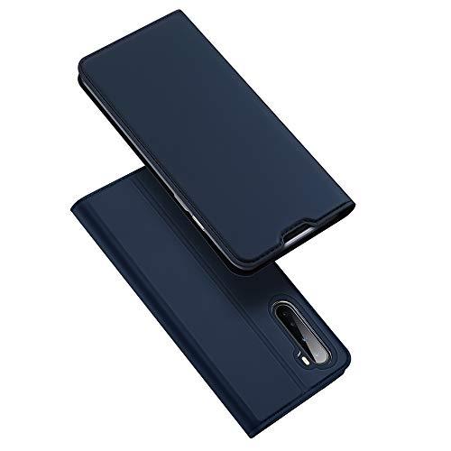 DUX DUCIS fodral för OnePlus Nord, Ultra Fit Flip Folio läderfodral med [Kickstand] [Kortplats] [magnetisk stängning] för OnePlus Nord (Djupblå)