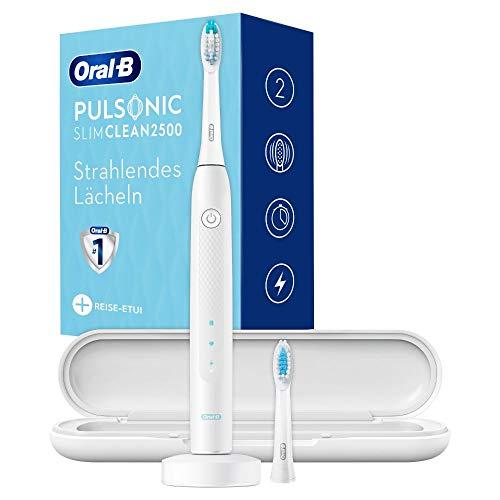 Oral-B Pulsonic Slim Clean 2500 Elektrische Schallzahnbürste für eine sanfte Zahnreinigung, 2 Putzmodi inkl. Aufhellen, Timer, 2 Aufsteckbürsten & Reiseetui, weiß
