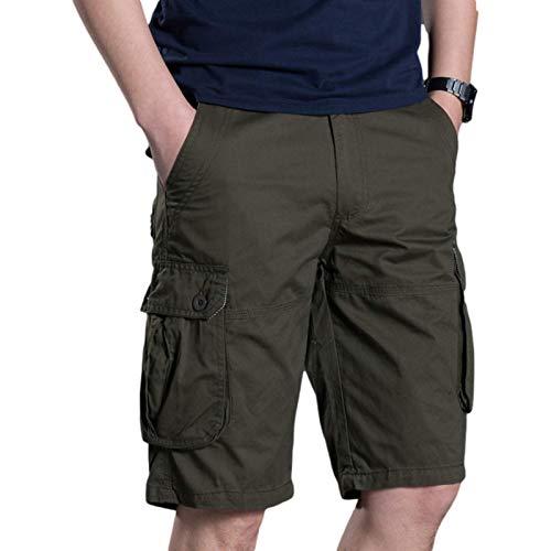 Pantalones Cortos de Carga Informales para Hombre, Moda de Verano, Costura, Multibolsillos, sección Delgada, cómodos Pantalones Cortos Rectos Sueltos 38