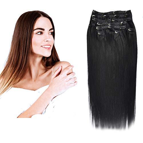 (35cm-55cm) Clip In Extensions 10 Teiliges SET 120g 100% Remy Echthaar für Komplette Haarverlängerung glatt Haarteile (1#, Schwarz, 40cm)