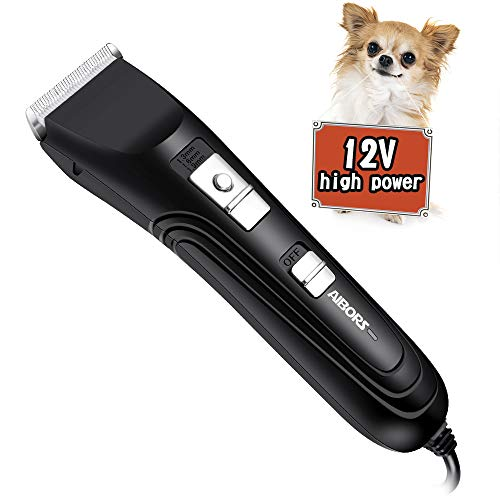 AIBORS Dog Clippers Shaver 12V High Power for Thick Heavy Coats Quiet Plug-in Pet Electric Professional Hair Grooming Clippers kit with Guard Combs Brush for Dogs Cats and Other Animals