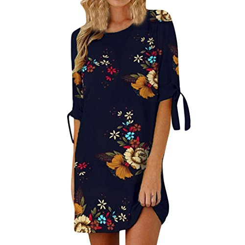 MRULIC Sommerkleider Damen Kurzarm Strand Blumen Kleider Abendkleid Knielang Blumendruck Bowknot Ärmel Cocktail Minikleid Casual Party Dress