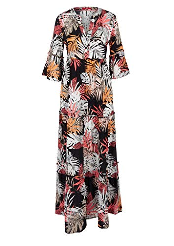 s.Oliver Damen Maxikleid mit Allover-Print black AOP 36