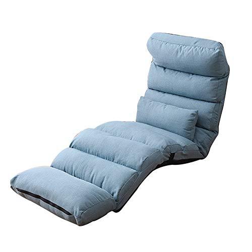 LIXIONG Bodenstuhl, Zuhause Gepolstert Gaming Chair Mehrere Standorte Einstellbar Falten Meditation Stuhl mit Abnehmbar Pedal zum lesen Spiele,5 Farbe (Color : Blue, Size : 205x52x18cm)