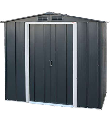 Duramax ECO 6' x 4' Hot-Dipped Galvanized Metal Garden Shed - Anthracite with Off-White Trimmings - 15 Years Warranty