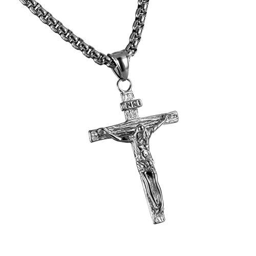 Cupimatch Herren Halskette, Exquisit Edelstahl Kruzifix Kreuz Jesus Anhänger mit 55 Kette Halsband, Silber/Schwarz