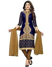 Glory Sarees Women's Silk Cotton Semi Stitch Dress Material (Blue, Free Size)