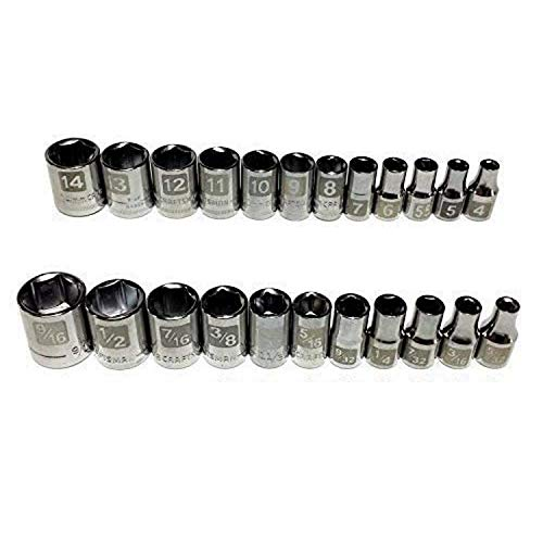 Craftsman Laser Etched Easy Read 23 Piece SAE Standard & Metric 1/4' Drive 6 Point Shallow Socket Set
