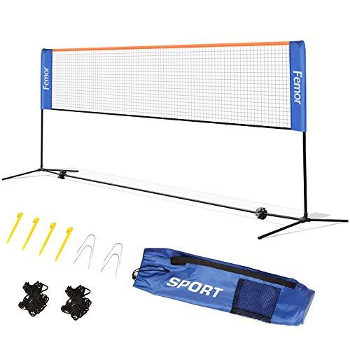 femor Badminton Netz Tennisnetz 4m Tragbares Volleyball mit Verstellbaren Höhen faltbares Federballnetz Outdoor Trainingsnetz,3 Höhe: 85/120/155cm