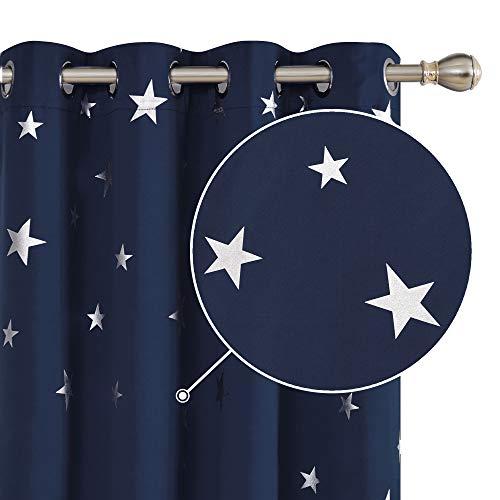 Deconovo Sterne Vorhang Blickdicht Gardinen Verdunkelungsvorhang Ösen für Junge 229x117 cm Dunkelblau 2er Set