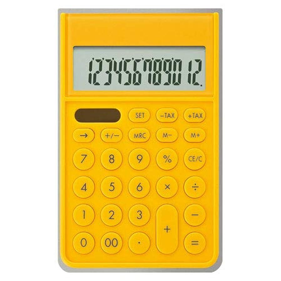 野心コードレスおかしいアスカ カバー付き電卓 イエロー C1241Y