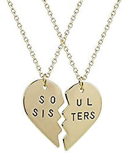 1 partij van twee ketting met hartvormige hanger in tweeën gedeeld met het opschrift - zusjes soul sisters