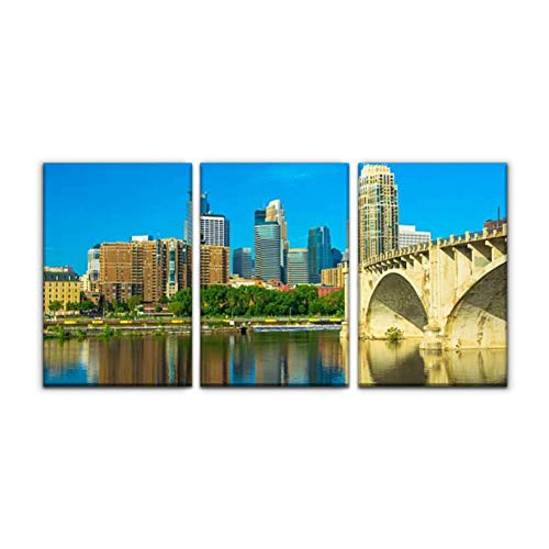 Modern Canvas Painting minneapolis skyline with river reflection and bridge mississippi Wall Art Artwork Decor Printed Oil Painting Landscape Home Office Bedroom Framed Decor (16'x24'x3pcs)