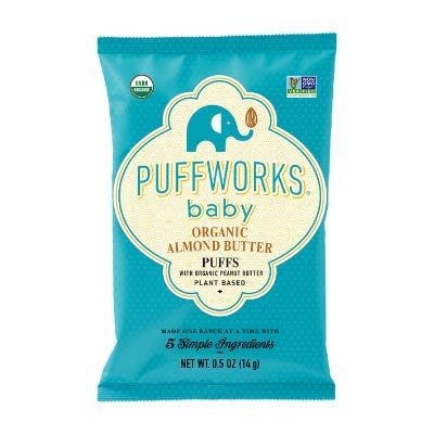 Puffworks Baby Peanut Butter Puffs   Baked Plant-Protein Snacks for Babies   Organic   Kosher   Non-GMO   Gluten-Free (12, 0.5 oz bags)