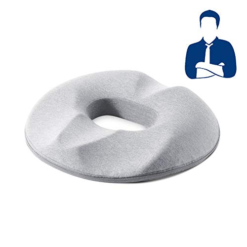 Donut Cushion,Ring Cushion for Beautiful buttocks,Decompression of tail vertebrae of pregnant women,Haemorrhoids, Piles, Sores & Coccyx Pain Relief,Doughnut Cushion for Home/Car/Office(Grey, Man's)