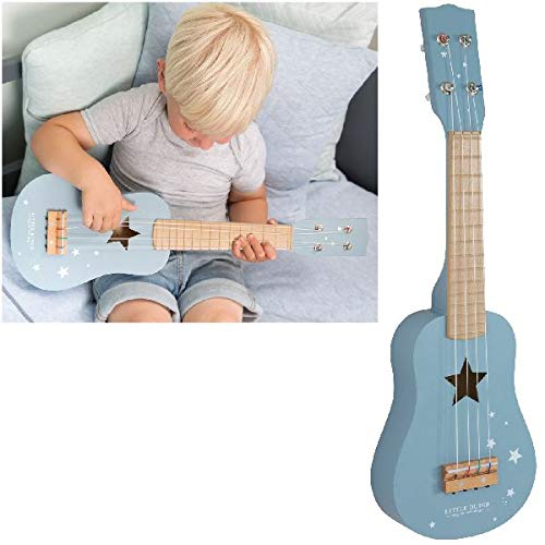 LITTLE DUTCH 4409, Kindergitarre aus Holz, Blau (adventure blue), 54 x 17 x 6,5 cm