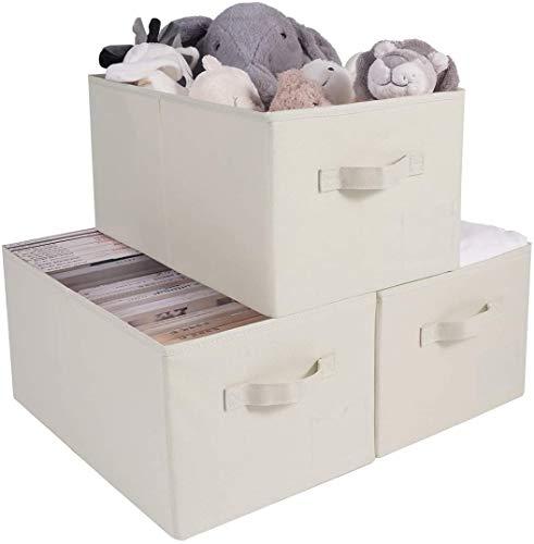 AMX Contenedores Plegables de Almacenamiento de Estante de Armario Abierto de 3 Piezas, compatibles con el Armario IKEA Pax, Cubos de Gran Tama?o para comestibles, Beige
